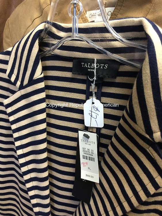 TORRINGTON, CT- 30 November 2015- 113015BJ02-- A blouse shows off the mark downs in prices at Park Avenue Thrift Shop, whose proceeds benefit the senior center. The original Talbots blouse is $89.50 and is now $12. Bruno Matarazzo Jr. Republican-American