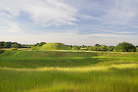 The Bronze Age-style hill fort is constructed in a series of terraced grassy mounds