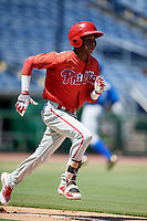 Philadelphia Phillies center fielder Julio Francisco (17) runs to first base during a Florida Instructional League game against the Toronto Blue Jays on September 24, 2018 at Spectrum Field in Clearwater, Florida.  (Mike Janes/Four Seam Images)