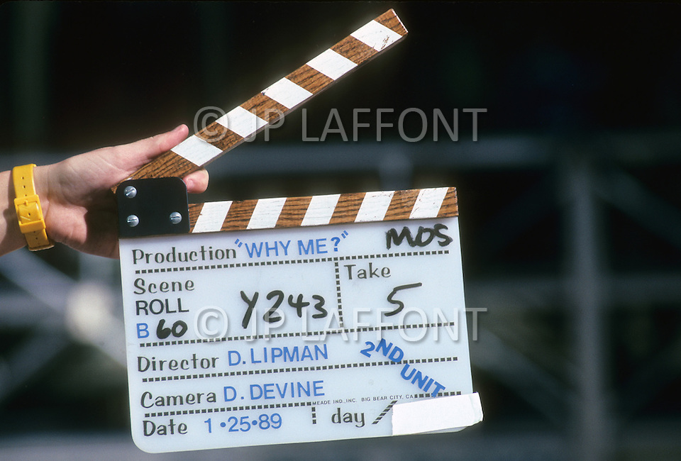 "Los Angeles, U.S.A, 1989. The filming of the movie ""Why Me?"" with Christopher Lambert."