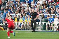 Kansas City, Mo. - Saturday April 23, 2016: Portland Thorns FC head coach Mark Parsons looks on during a match against FC Kansas City at Swope Soccer Village. The match ended in a 1-1 draw.