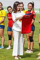 MADRID, SPAIN-July 04: Queen Letizia visits the training of the 'National Women's Rugby Team 7' at the Complutense university stadium in Madrid, Spain on July 04, 2019.  **NO SPAIN***<br /> CAP/MPI/RJO<br /> ©RJO/MPI/Capital Pictures