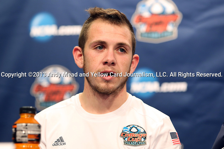 13 December 2013: Notre Dame's Harrison Shipp during the postgame press conference. The University of Notre Dame Fighting Irish played the University of New Mexico Lobos at PPL Park in Chester, Pennsylvania in a 2013 NCAA Division I Men's College Cup semifinal match. Notre Dame won the game 2-0.
