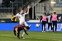 Chester, PA - Friday December 08, 2017: Foster Langsdorf scores prior to a NCAA Men's College Cup semifinal soccer match between the Stanford Cardinal and the Akron Zips at Talen Energy Stadium.