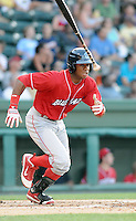Outfielder Anthony Hewitt (12) of the Lakewood BlueClaws, Class A affiliate of the Philadelphia Phillies, in a game against the Greenville Drive on July 12, 2011, at Fluor Field at the West End in Greenville, South Carolina. (Tom Priddy/Four Seam Images)