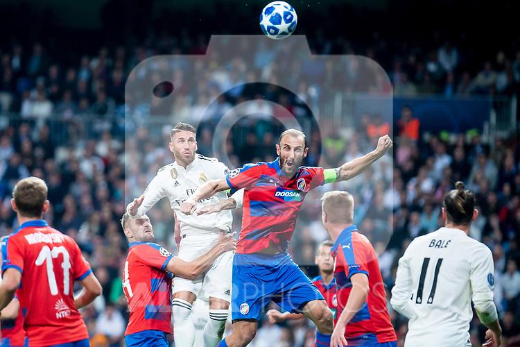 Real Madrid Sergio Ramos and FC Viktoria Plzen Roman Prochazka during UEFA Champions League match between Real Madrid and FC Viktoria Plzen at Santiago Bernabeu Stadium in Madrid, Spain. October 23, 2018. (ALTERPHOTOS/Borja B.Hojas)
