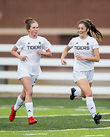 NWA Democrat-Gazette/BEN GOFF @NWABENGOFF<br /> Sydney Wagner (left) and Bentonville teammate Angelina Diaz celebrate after Diaz scored the first goal vs Springdale Har-Ber Tuesday, March 12, 2019, during the match at Wildcat Stadium in Springdale.