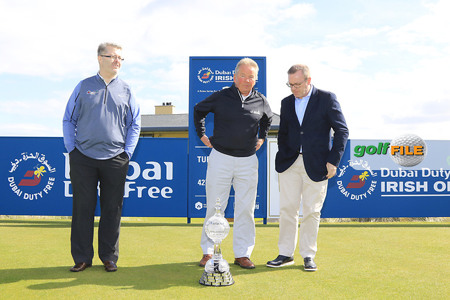 Michael Rafferty, Michael Moss and Brian McIlroy at the Media Day to preview the Dubai Duty Free Irish Open hosted by the Rory Foundation to be held at Portstewart Golf Club from July 6-9. 17th May 2017.<br /> Picture: Eoin Clarke | Golffile<br /> <br /> <br /> All photos usage must carry mandatory copyright credit (&copy; Golffile | Eoin Clarke)