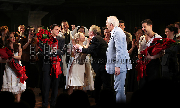 Rachel Potter, Michael Cerveris, Elena Roger, Andrew Lloyd Webber, Tim Rice & Ricky Martin with the Company.during the Broadway Opening Night Performance Curtain Call for 'EVITA' at the Marquis Theatre in New York City on 4/5/2012