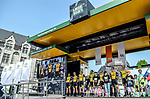 Team Lotto NL-Jumbo on stage outside Le Palais des Princes-&Eacute;v&ecirc;ques at the team presentation before the 104th edition of La Doyenne, Liege-Bastogne-Liege 2018, Belgium. 21st April 2018.<br /> Picture: ASO/Karen Edwards | Cyclefile<br /> <br /> <br /> All photos usage must carry mandatory copyright credit (&copy; Cyclefile | ASO/Karen Edwards)