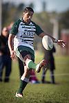Ahsee Tuala puts in a kick for the Manurewa players to run on to. Counties Manukau Premier Club Rugby game between Karaka and Manurewa, played at Karaka, on Saturday June 14 2014. Karaka won the game 63- 24 after leading 32 - 10 at halftime  Photo by Richard Spranger