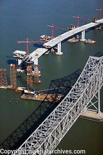 aerial photograph of San Francisco Oakland Bay Bridge construction