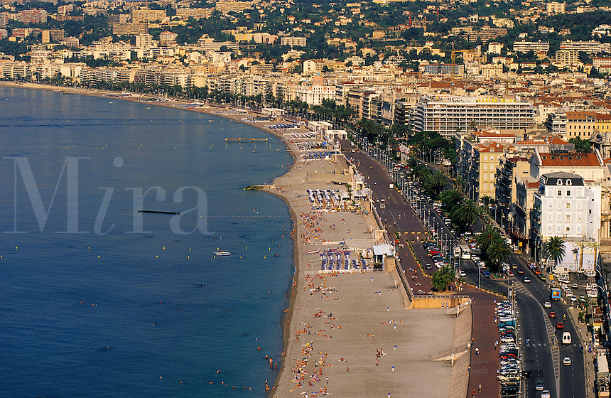 Nice. Beach and Promenade des Anglais, Cote d'Azur, Provence, France