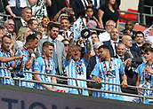 28th May 2018, Wembley Stadium, London, England;  EFL League 2 football, playoff final, Coventry City versus Exeter City; Jack Grimmer of Coventry City lifts the EFL League 2 trophy from the gantry