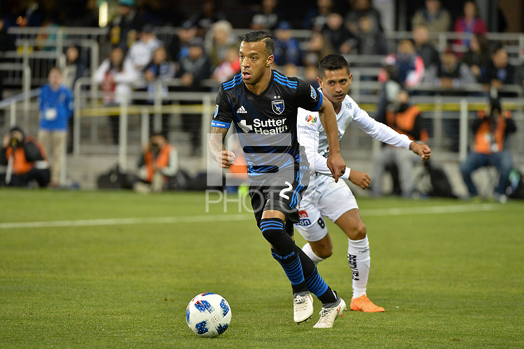 San Jose, CA - Saturday March 24, 2018: Joel Qwiberg, Elías Hernández during an international friendly between the San Jose Earthquakes and Club Leon FC at Avaya Stadium.
