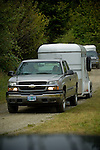 Chevy towing trailer in Crescent City, California