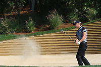 Sean Crocker (USA) playing out of a bunker on the 18th during the preview of the Hero Indian Open at the DLF Golf and Country Club on Wednesday 7th March 2018.<br /> Picture:  Thos Caffrey / www.golffile.ie<br /> <br /> All photo usage must carry mandatory copyright credit (&copy; Golffile | Thos Caffrey)