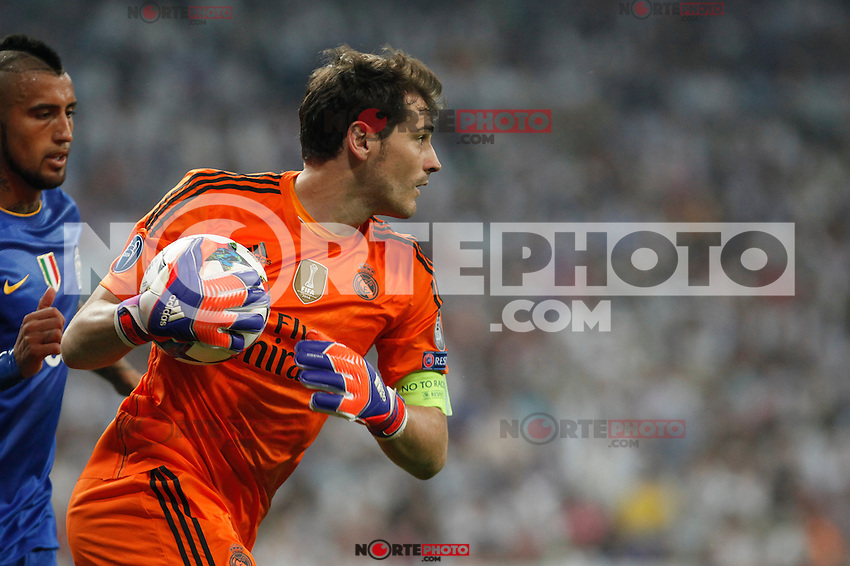 Real Madrid´s goalkeeper Iker Casillas during the Champions League semi final soccer match between Real Madrid and Juventus at Santiago Bernabeu stadium in Madrid, Spain. May 13, 2015. (ALTERPHOTOS/Victor Blanco) /NortePhoto.COM