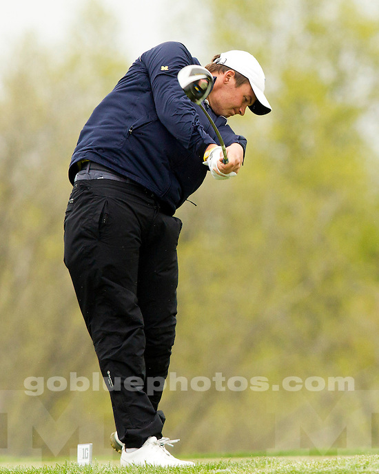 The University of Michigan men's golf team finished day two in 12th place at the Big Ten Championship at the Pete Dye Course (French Lick Resort) in French Lick, Ind., on April 27, 2013.