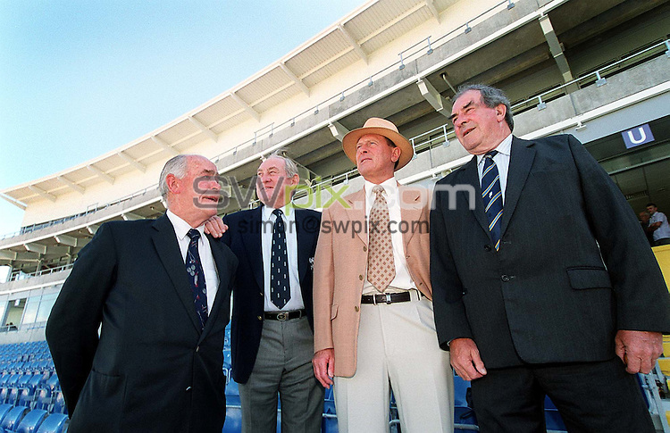 Pix: Simon Wilkinson/SWpix.com. Cricket. Yorkshire Season 2002. Opening of East Stand. 21/08/02...COPYWRIGHT PICTURE>>SIMON WILKINSON>>01943 436649>>..Yorkshire Cricket Legends left to right Brian Close, Ray Illingworth,Geoff Boycott and Fred Trueman pictured for the first time together in over 30 yrs at the opening of the new East stand at Headingley today