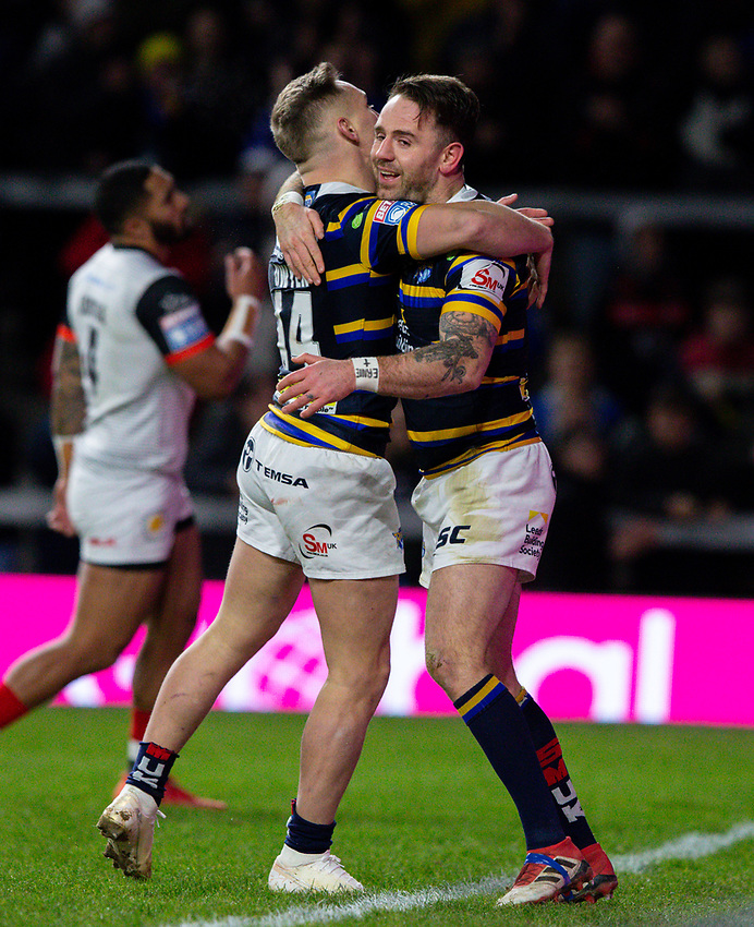 Leeds Rhinos' Richie Myler celebrates scoring his side's second try with Brad Dwyer<br /> <br /> Photographer Alex Dodd/CameraSport<br /> <br /> Betfred Super League Round 6 - Leeds Rhinos v Toronto Wolfpack - Thursday 5th March 2020 - Headingley - Leeds<br /> <br /> World Copyright © 2020 CameraSport. All rights reserved. 43 Linden Ave. Countesthorpe. Leicester. England. LE8 5PG - Tel: +44 (0) 116 277 4147 - admin@camerasport.com - www.camerasport.com