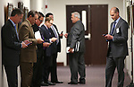 A group of lobbyists wait outside a hearing room at the Legislative Building in Carson City, Nev., on Thursday, April 30, 2015. <br /> Photo by Cathleen Allison