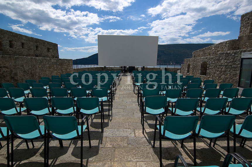 Open air cinema with empty chairs at daytime in Herceg Novi, Montenegro, Europe