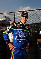 Sept. 26, 2008; Kansas City, KS, USA; Nascar Sprint Cup Series driver Joey Logano during qualifying for the Camping World RV 400 at Kansas Speedway. Mandatory Credit: Mark J. Rebilas-