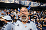 KANSAS CITY, KS - SEPTEMBER 20: A Sporting Kansas City fan. Sporting Kansas City hosted the New York Red Bulls on September 20, 2017 at Children's Mercy Park in Kansas City, KS in the 2017 Lamar Hunt U.S. Open Cup Final. Sporting Kansas City won the match 2-1.