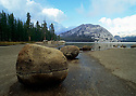 Stones march silently towards the receded late summer water of Tenaya Lake in Yosemites high country.