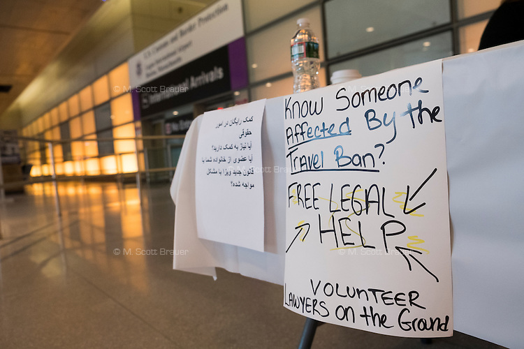 A group of volunteer lawyers coordinated by the American Immigration Lawyers Association offered free legal help to those affected by Donald Trump's Executive Order travel ban in Logan Airport Terminal E, the airport's international terminal, in Boston, Massachusetts, USA. An Executive Order signed by President Donald Trump bans travel for many from seven Muslim-majority countries.
