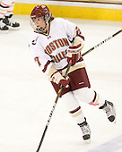"""Laura Hart (BC - 27) sports a """"pink ribbon"""" in tape on her shin for """"Skating Strides"""". - The Boston College Eagles defeated the visiting Northeastern University Huskies 2-1 on Sunday, January 30, 2011, at Conte Forum in Chestnut Hill, Massachusetts."""