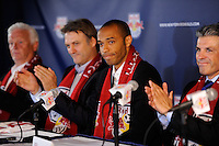 Thierry Henry is introduced during a New York Red Bulls press conference at Red Bull Arena in Harrison, NJ, on July 15, 2010.
