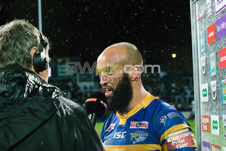 Picture by Allan McKenzie/SWpix.com - 15/04/2016 - Rugby League - First Utility Super League - Leeds Rhinos v Hull FC - Headingley Carnegie Stadium, Leeds, England - Jamie Jones-Buchanan is interviewed post-match.