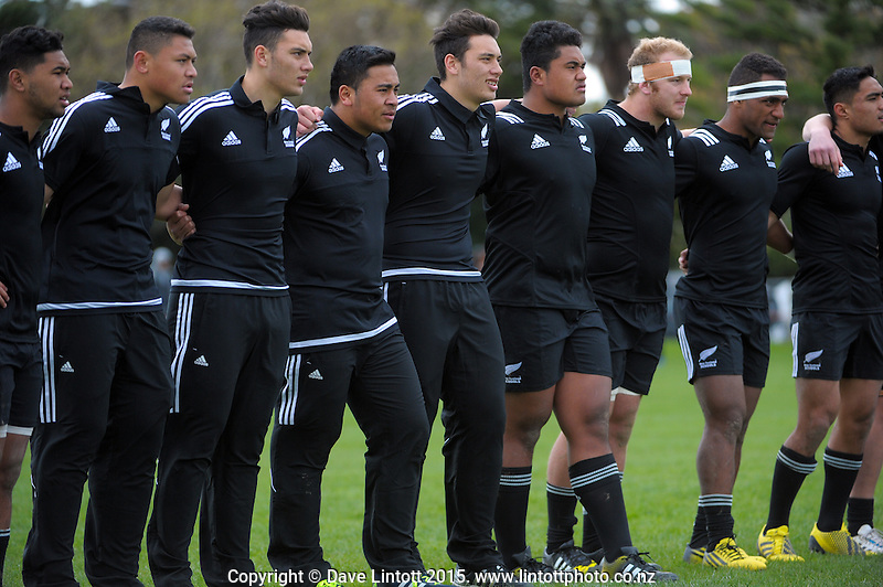 The NZ team face the Barbarians' haka during the rugby union match between New Zealand Secondary Schools and NZ Schools Barbarians at PNBHS, Palmerston North, New Zealand on Saturday, 19 September 2015. Photo: Dave Lintott / lintottphoto.co.nz