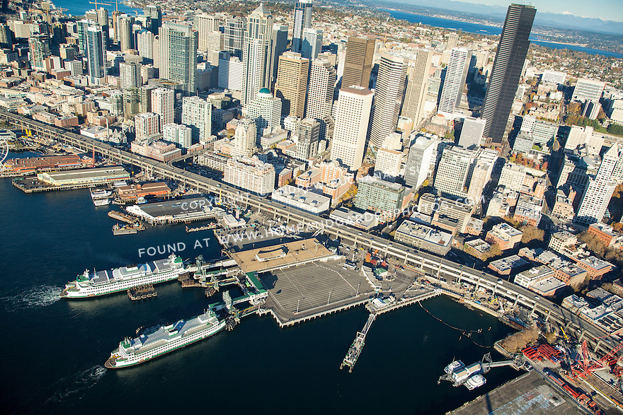 Aerial view of Seattle's downtown waterfront
