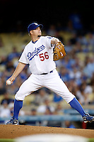 Joe Blanton #56 of the Los Angeles Dodgers pitches against the Colorado Rockies at Dodger Stadium on September 29, 2012 in Los Angeles, California. Los Angeles defeated Colorado 3-0. (Larry Goren/Four Seam Images)