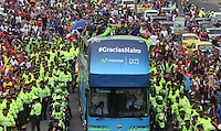 BOGOTA -COLOMBIA, 18-09-2016. Homenaje de Bogotá al campeón de la vuelta a España Nairo Quintana , miles de personas lo acompañaron en su recorrido hasta el parque Simón Bolívar./ Bogota tribute to the champion back to Spain Nairo Quintana, thousands of people accompanied him on his journey to the park Simon Bolivar . Photo:VizzorImage / Felipe Caicedo  / Staff