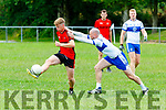 Kevin O'sullivan Kenmare gets his shot in under pressure from Barry Lynch Desmonds during their County league clash in Castleisland on Sunday