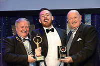 Paddy McGennity, Newcastle Glees Musical Society, County Down who won Best Actor / Gilbert Section for his performance as 'Man in Chair' in 'The Drowsy Chaperone' receiving the trophy from on  left, Colm Moules, President, AIMS and Seamus Power, Vice-President at the Association of Irish Musical Societies annual awards in the INEC, KIllarney at the weekend.<br /> Photo: Don MacMonagle -macmonagle.com<br /> <br /> <br /> <br /> repro free photo from AIMS<br /> Further Information:<br /> Kate Furlong AIMS PRO kate.furlong84@gmail.com