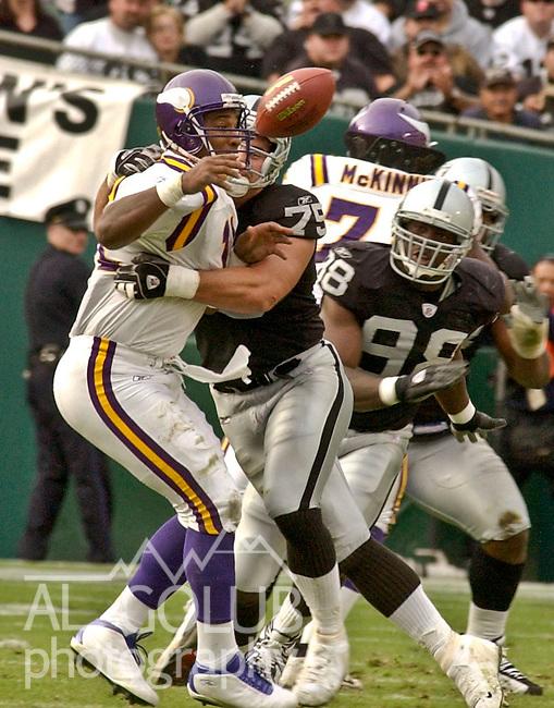 Oakland Raiders defensive tackle Chris Cooper (75) sacks Minnesota Vikings quarterback Daunte Culpepper (11) on Sunday, November 16, 2003, in Oakland, California. The Raiders defeated the Vikings 28-18.