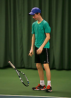 Rotterdam, The Netherlands, 15.03.2014. NOJK 14 and 18 years ,National Indoor Juniors Championships of 2014, Teis Visser (NED) is frustrated<br /> Photo:Tennisimages/Henk Koster