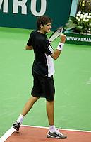 22-2-08, Netherlands, Rotterdam,  ABNAMROWTT 2008, Robin Haase balt zijn vuist nadat hij Michael Llodra breakt in de tweede set. Helaas tevergeefs, want hij wint uiteindelijk niet van de fransman. Llodra gaat door naar de halve finale.