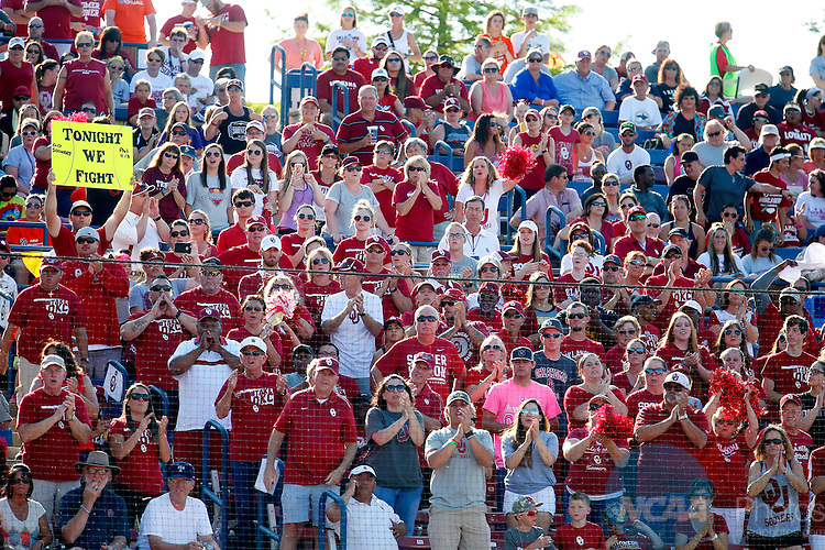 08 JUNE 2016:  Oklahoma fans cheer during the Division I Women's Softball Championship is held at ASA Hall of Fame Stadium in Oklahoma City, OK.  Shane Bevel/NCAA Photos