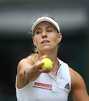 Angelique Kerber (GER) during her victory against Daria Kasatkina (RUS) in their Ladies' Quarter Final match<br /> <br /> Photographer Rob Newell/CameraSport<br /> <br /> Wimbledon Lawn Tennis Championships - Day 8 - Tuesday 10th July 2018 -  All England Lawn Tennis and Croquet Club - Wimbledon - London - England<br /> <br /> World Copyright &not;&copy; 2017 CameraSport. All rights reserved. 43 Linden Ave. Countesthorpe. Leicester. England. LE8 5PG - Tel: +44 (0) 116 277 4147 - admin@camerasport.com - www.camerasport.com