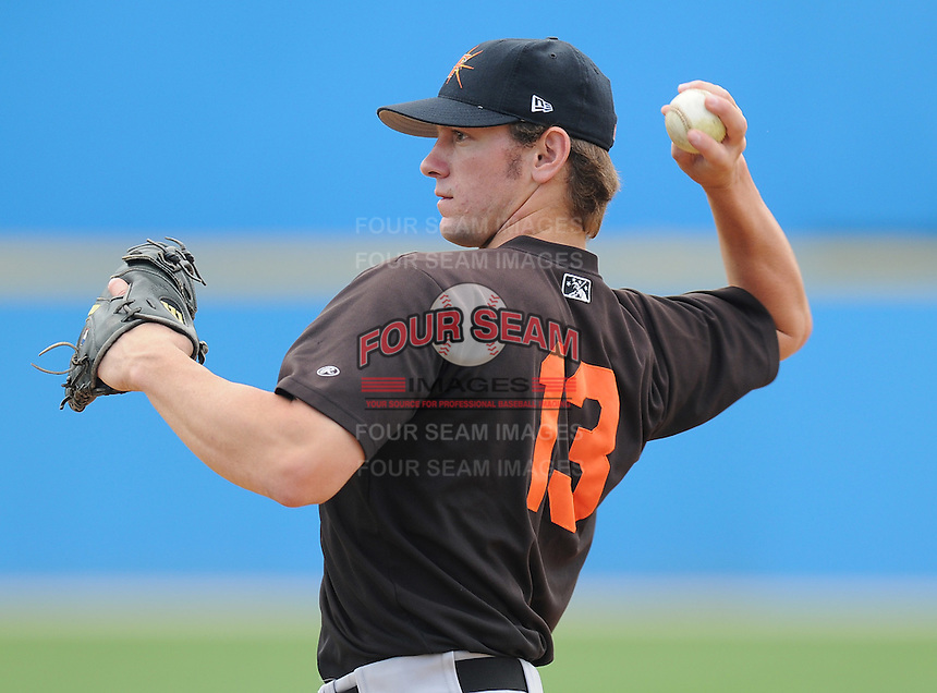 June 21, 2008: Catcher Justin Johnson (13) of the Frederick Keys, Carolina League affiliate of the Baltimore Orioles, prior to a game against the Potomac Nationals at G. Richard Pfitzner Stadium in Woodbridge, Va. Photo by:  Tom Priddy/Four Seam Images