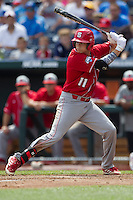 North Carolina State catcher Brett Austin (11) at bat during Game 3 of the 2013 Men's College World Series between the North Carolina State Wolfpack and North Carolina Tar Heels at TD Ameritrade Park on June 16, 2013 in Omaha, Nebraska. The Wolfpack defeated the Tar Heels 8-1. (Andrew Woolley/Four Seam Images)