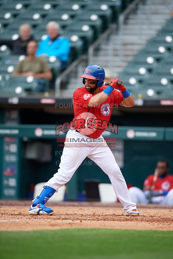 Buffalo Bisons Michael De La Cruz (55) at bat during an International League game against the Indianapolis Indians on June 20, 2019 at Sahlen Field in Buffalo, New York.  Buffalo defeated Indianapolis 11-8  (Mike Janes/Four Seam Images)