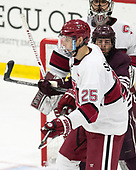 Wiley Sherman (Harvard - 25), Hunter Racine (Colgate - 28), Merrick Madsen (Harvard - 31) - The visiting Colgate University Raiders shut out the Harvard University Crimson for a 2-0 win on Saturday, January 27, 2018, at Bright-Landry Hockey Center in Boston, Massachusetts.