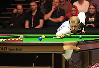 Barry Hawkins breaks during the Dafabet Masters Quarter Final 1 match between Mark Allen and Barry Hawkins at Alexandra Palace, London, England on 14 January 2016. Photo by Liam Smith / PRiME Media Images